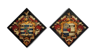 TWO PAINTED CANVAS HATCHMENTS