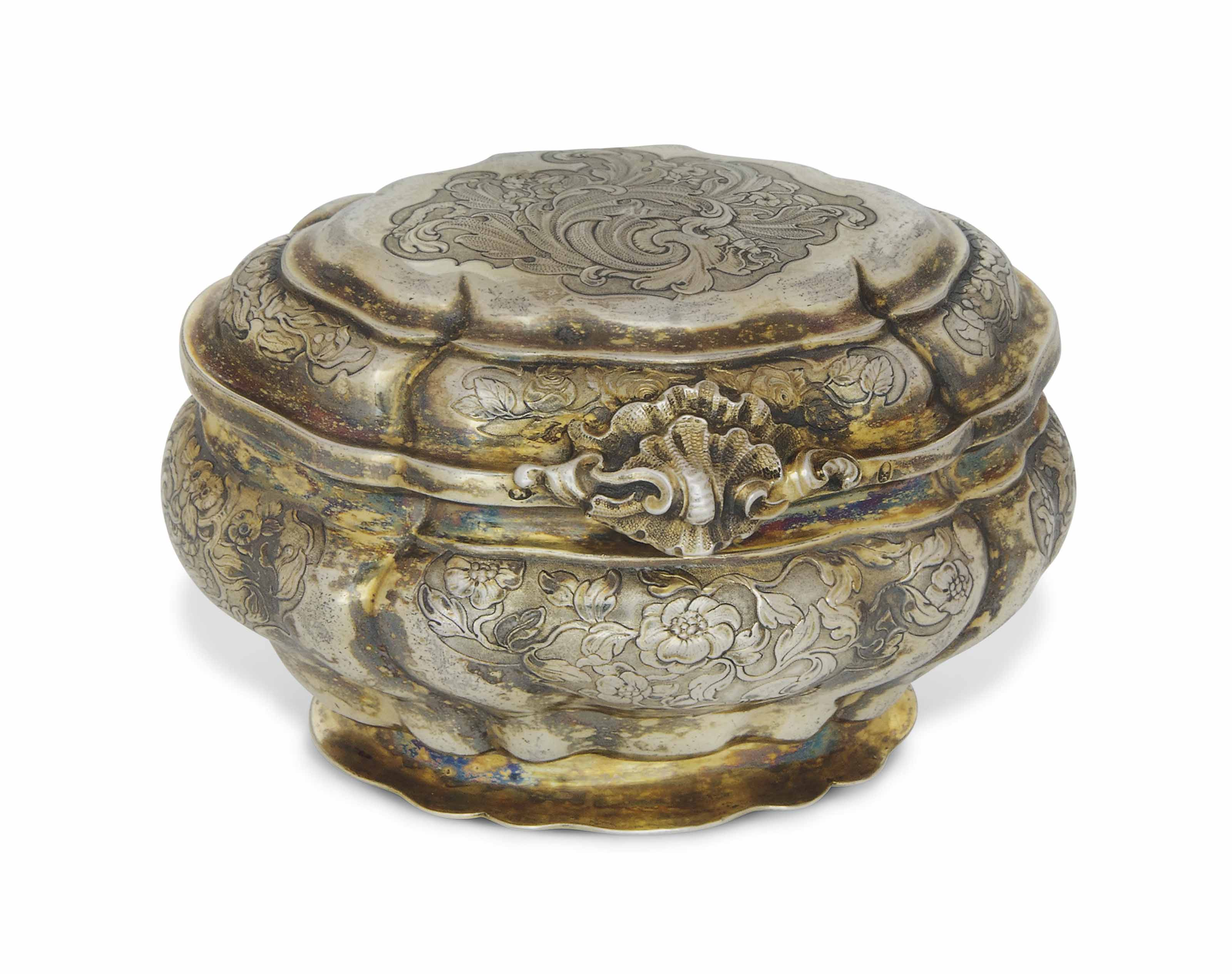 A german rococo silver gilt sugar box maker 39 s mark for Kolb augsburg