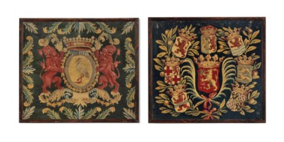 TWO DUTCH ARMORIAL TAPESTRY CU