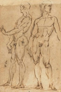 Two nude men standing