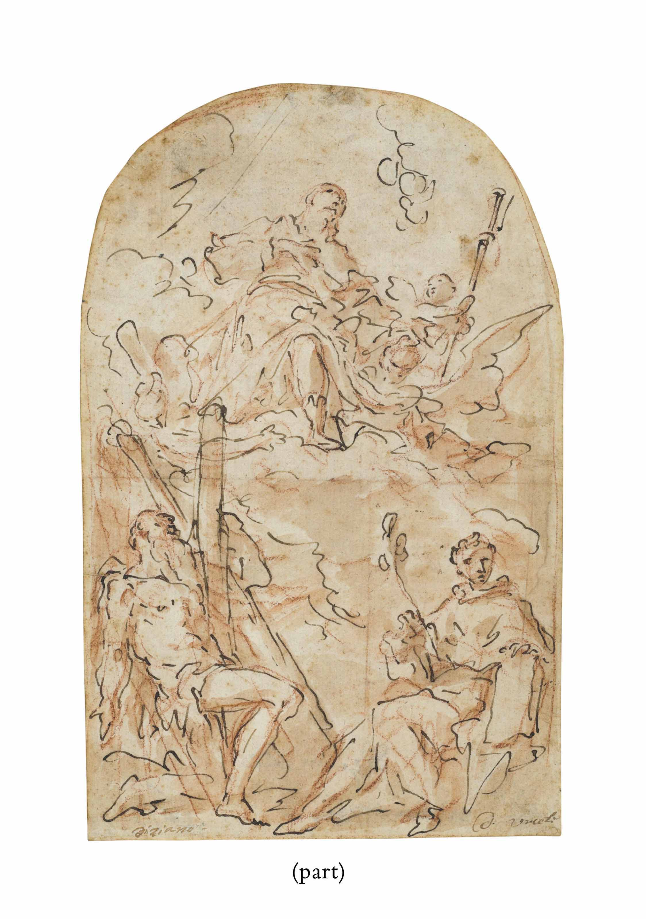 The Virgin appearing to Saints Andrew and Anthony of Padua (recto); Sketches (verso)
