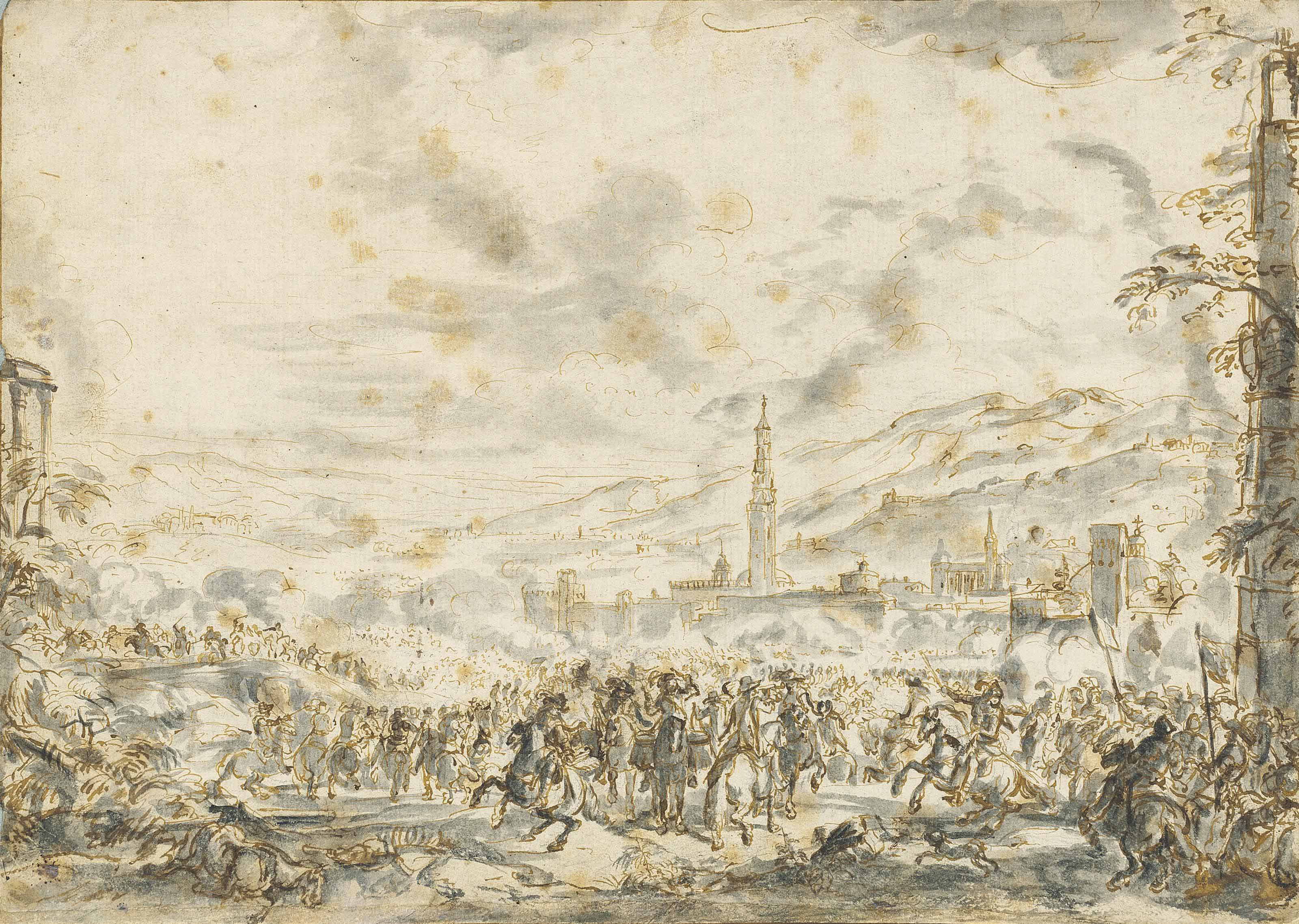 A battlefield before a town, mountains in the background