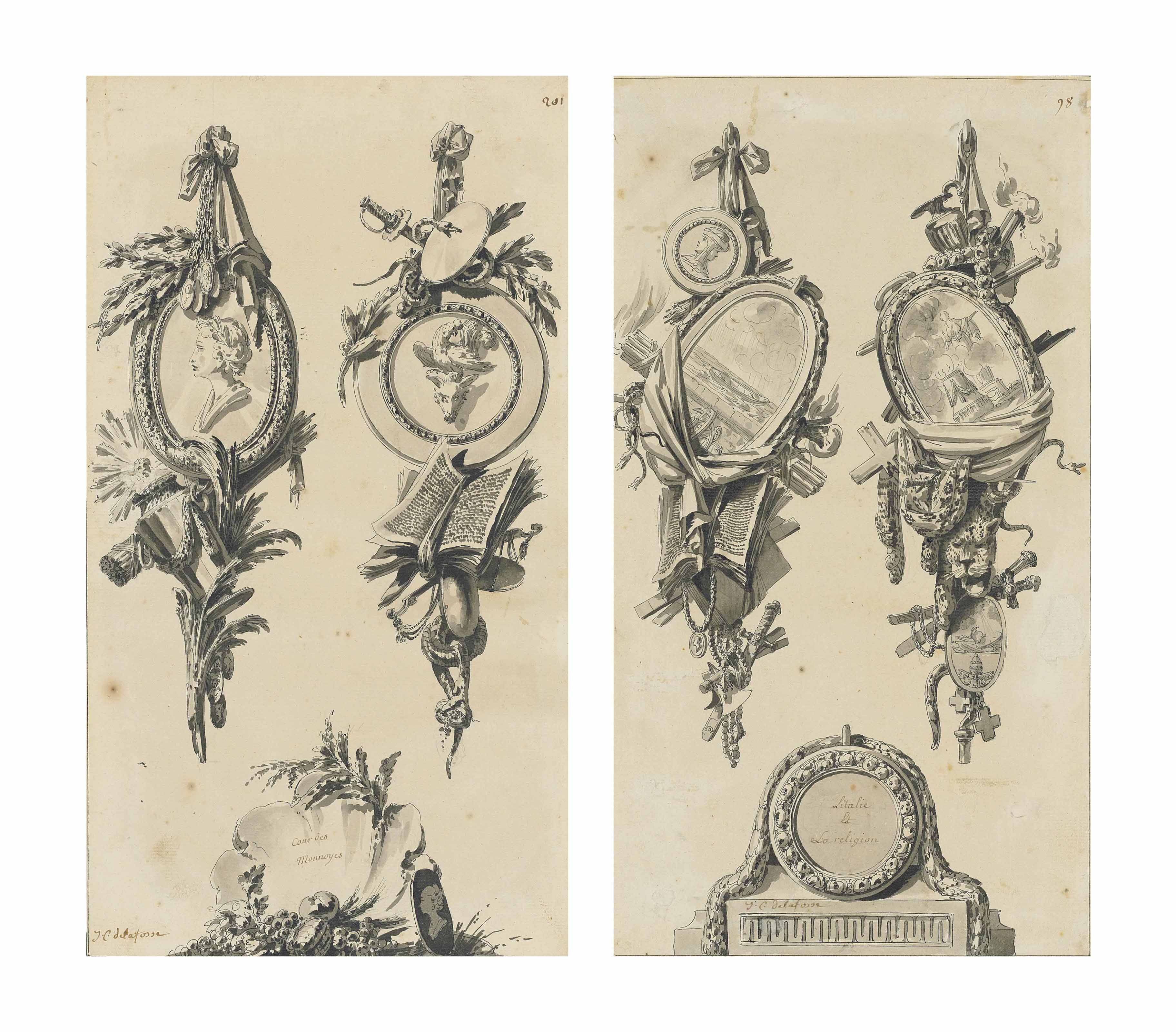Designs for two trophies and a cartouche; and Another drawing of the same subject