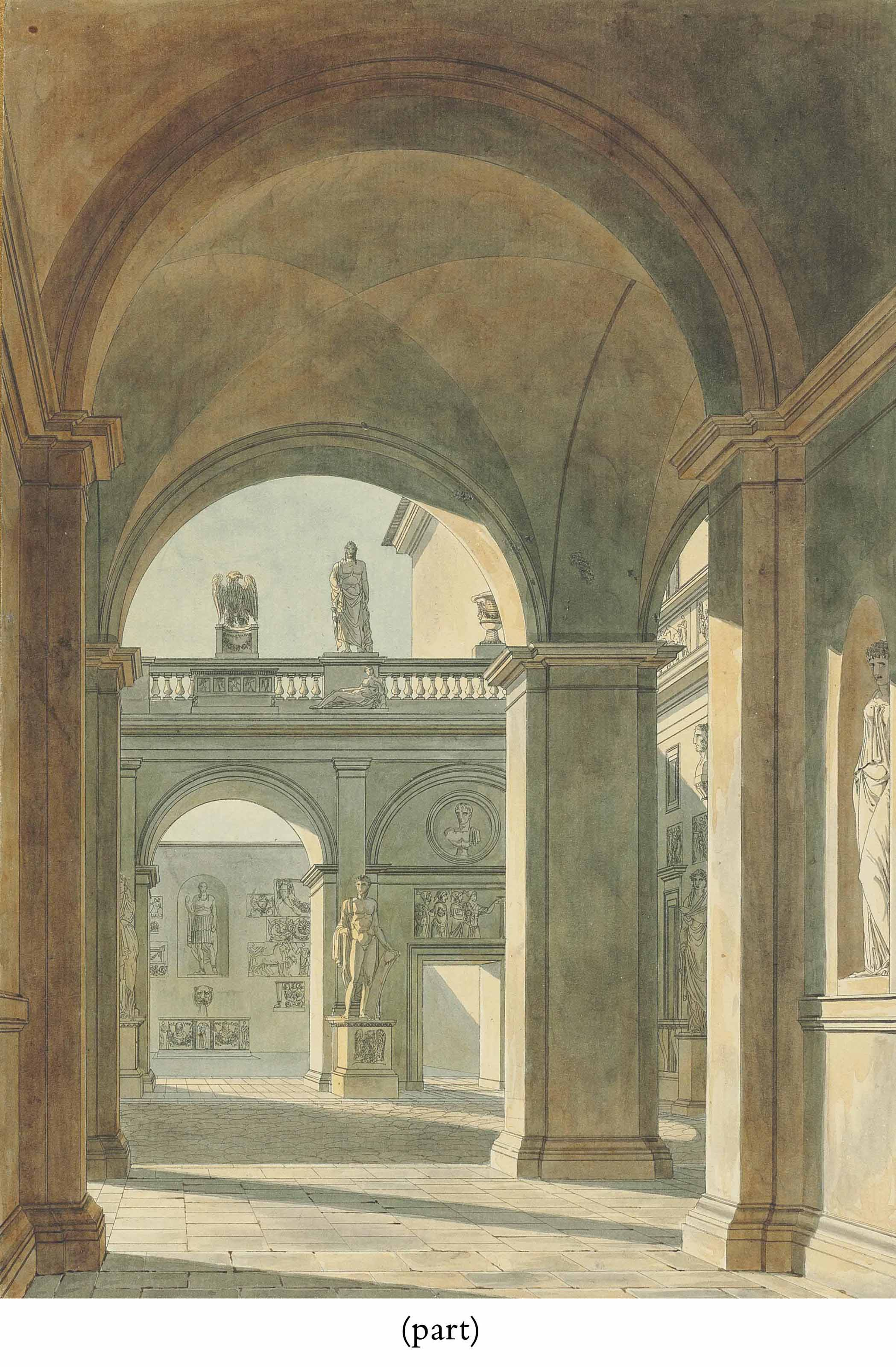 View of the courtyard of Palazzo Mattei, Rome, with statues and antique reliefs; and View of the interior of the Church of San Lorenzo fuori le mura, Rome