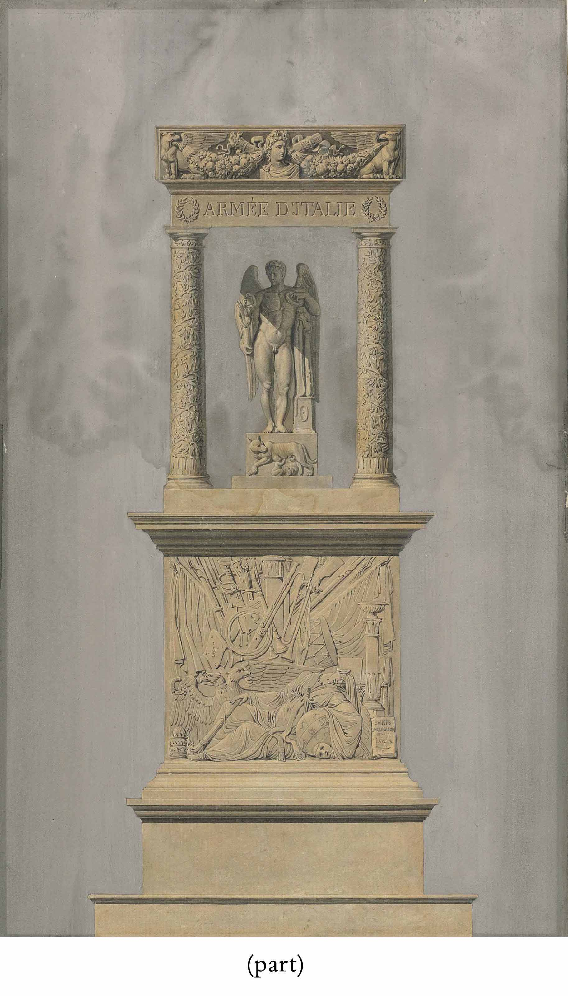 A monument with Napoleon as a winged Genius holding a Victory statuette under an arch