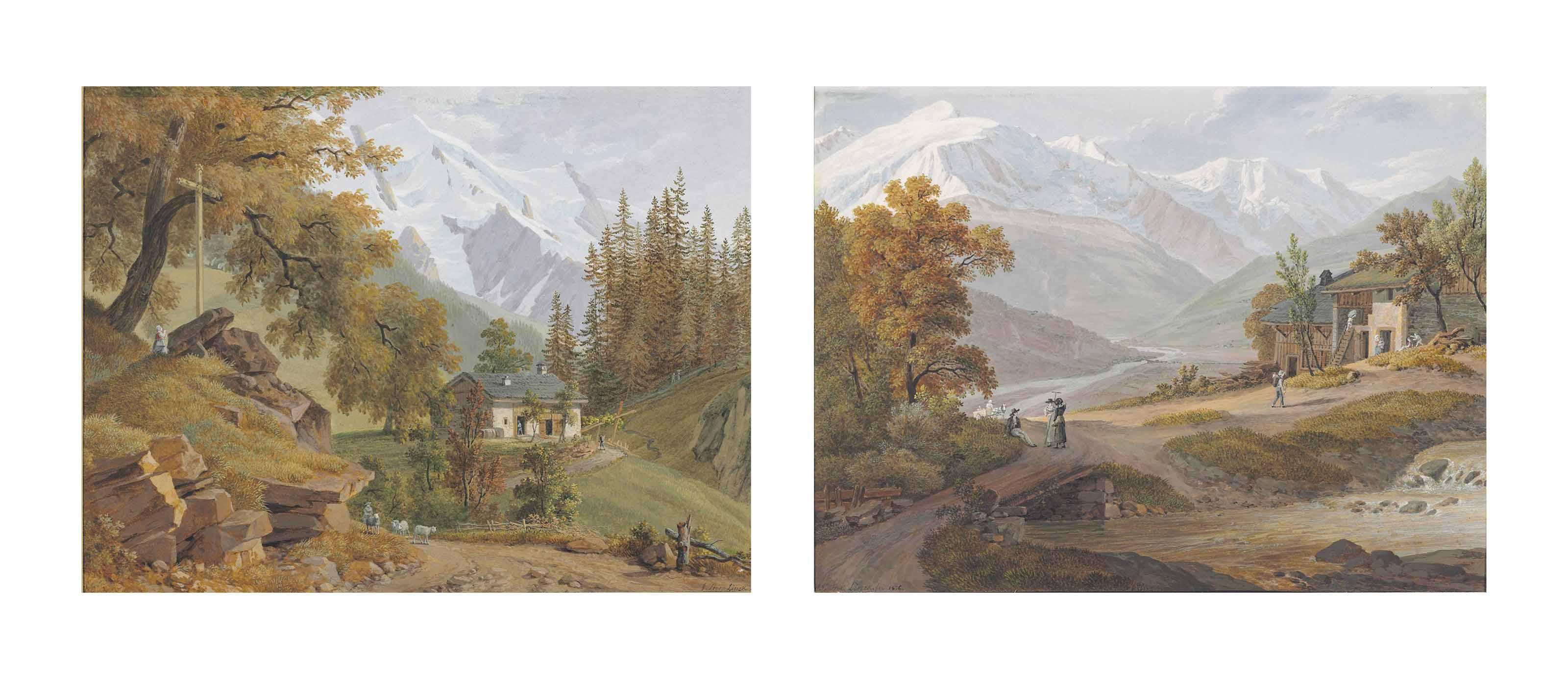 View of the Alps from Saint-Gervais-les-Bains, with the 'Aiguilles de Tré-la-Tête'; and View of the Alps from Magland, with the north slope of the Mont-Blanc massif