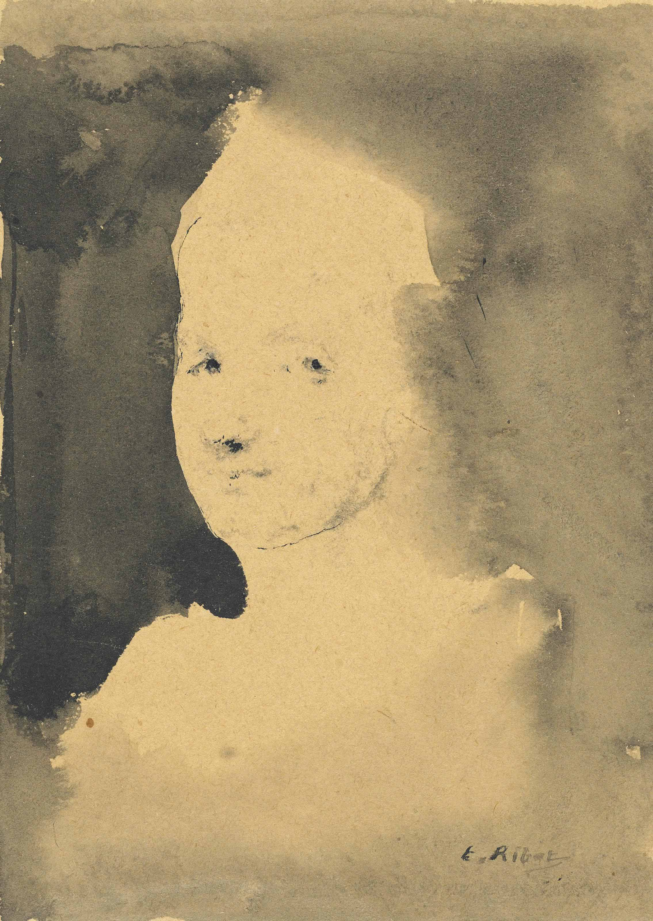 Study of a head; and Female figure walking down a staircase