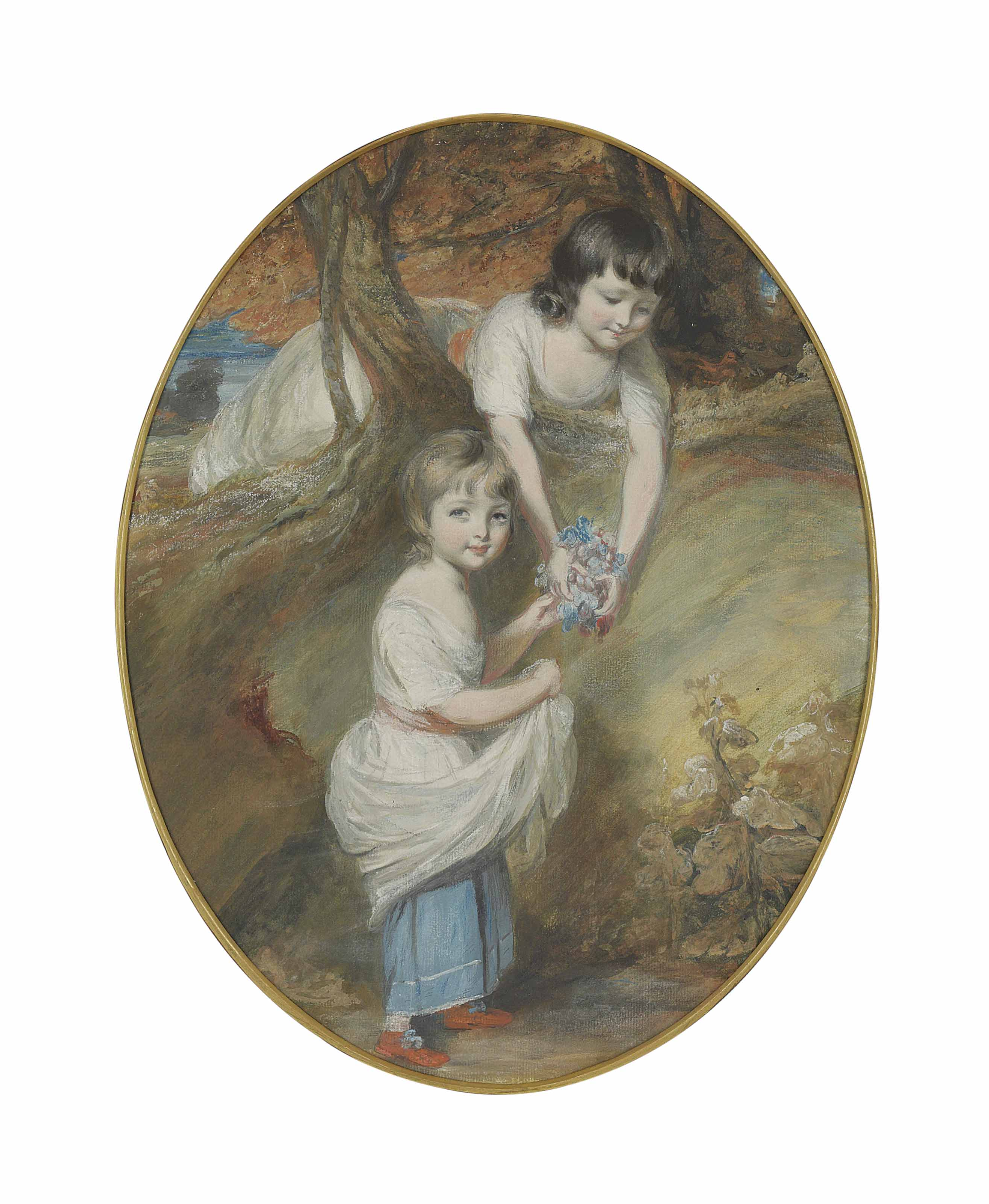 Double portrait of two young girls, traditionally identified as Harriet Fortescue and her sister April, gathering flowers