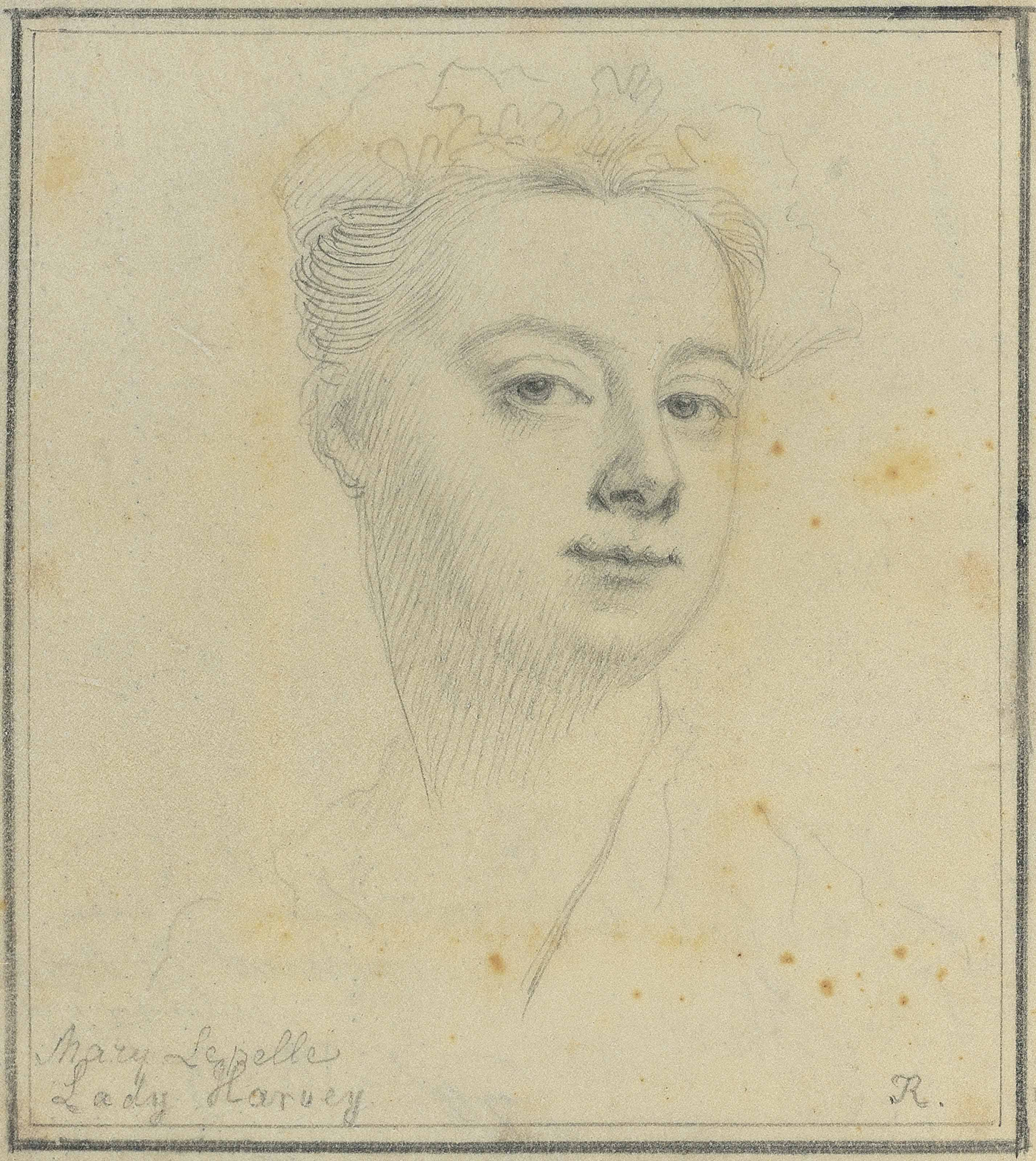 A portrait of Lady Mary Hervey, née Lepelle (1700-1768), head and shoulders within the memoir, 'Letters of Lady Mary Lepelle', 1821