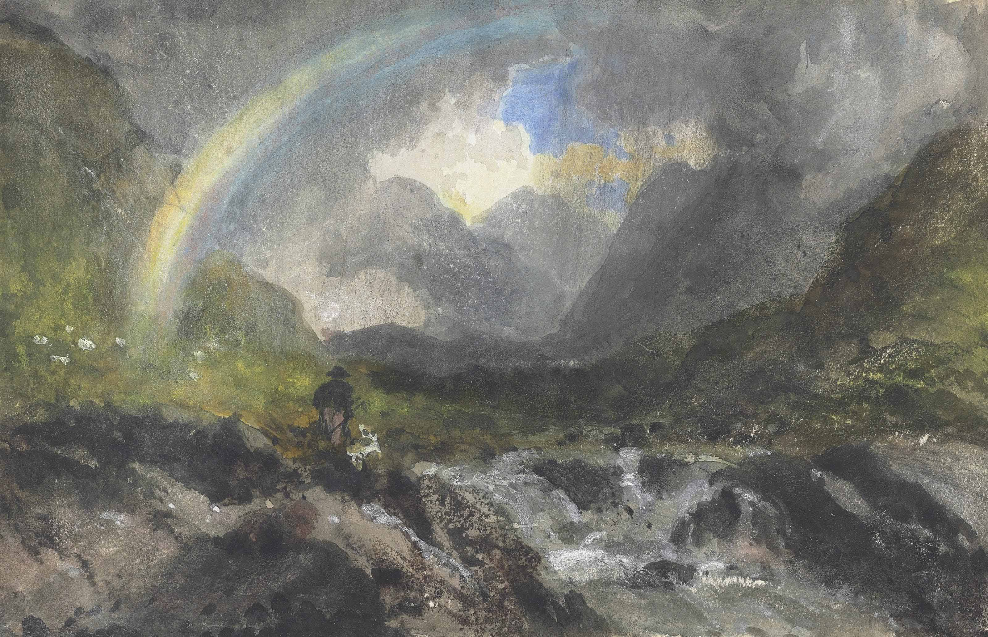 A mountainous river landscape with a rainbow