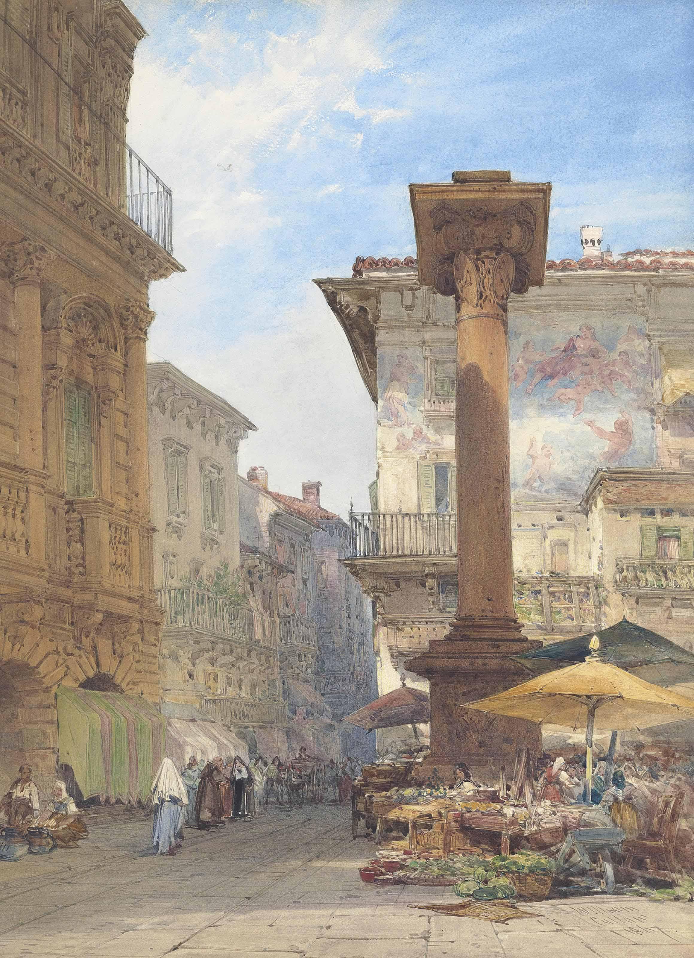 By the Venetian Column, Piazza delle Erbe, Verona, Italy