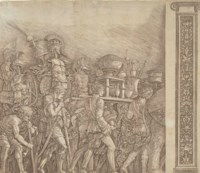 Soldiers carrying (version with the Pilasters), from: Triumph of Caesar