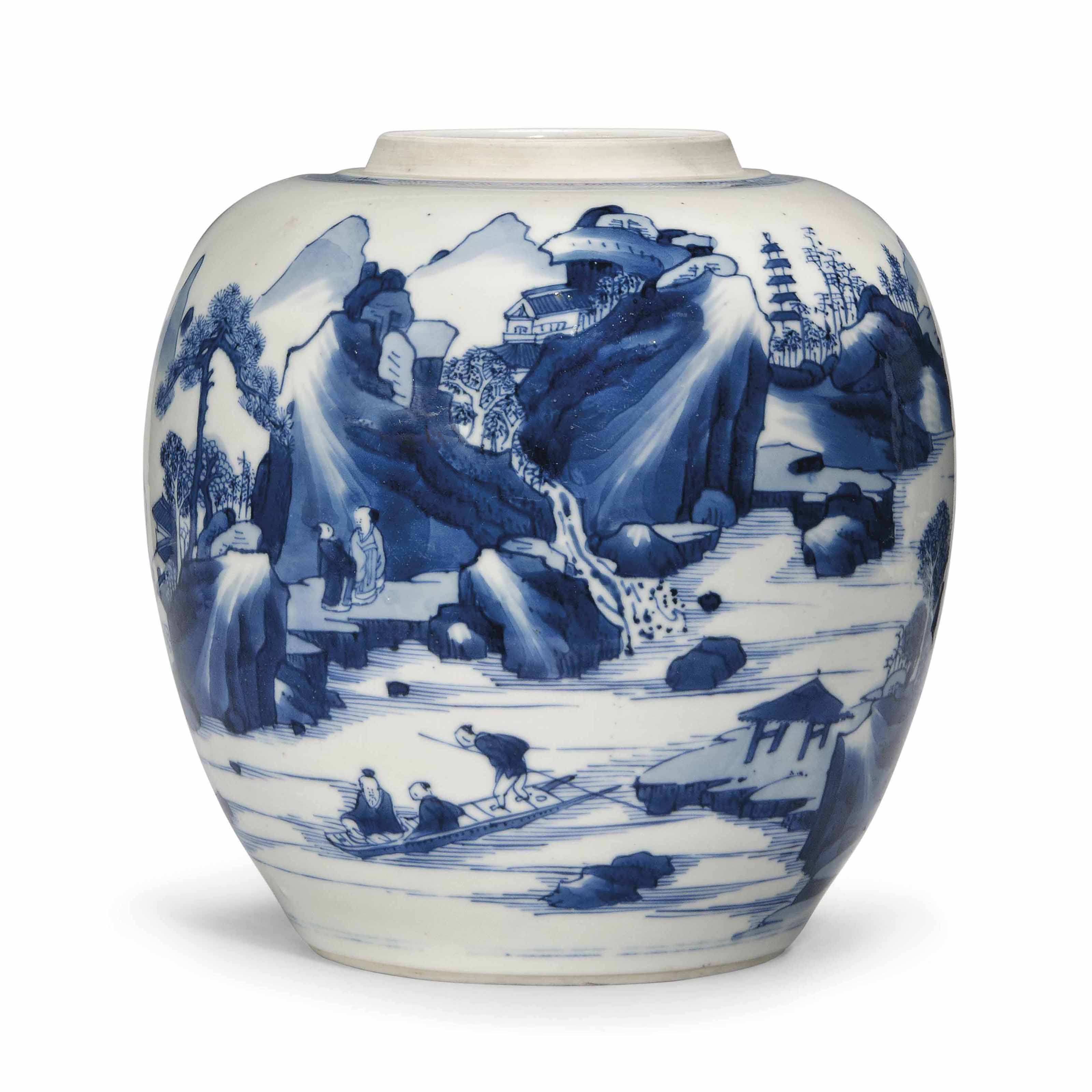 A CHINESE BLUE AND WHITE OVIFO