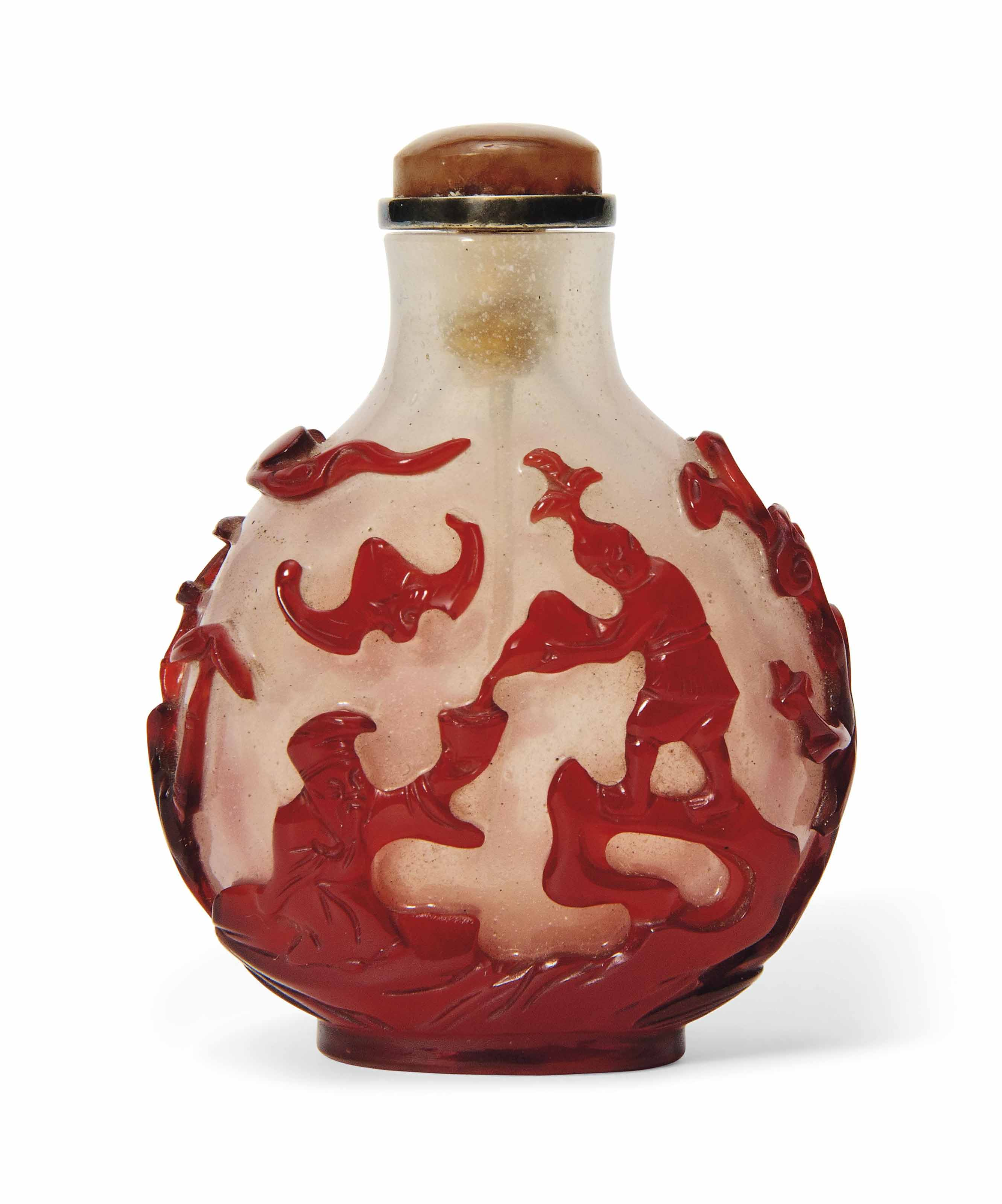 A CHINESE RED OVERLAY GLASS SN