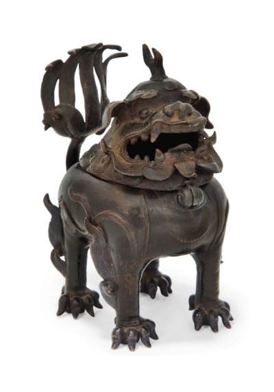 A CHINESE BRONZE BUDDHIST LION