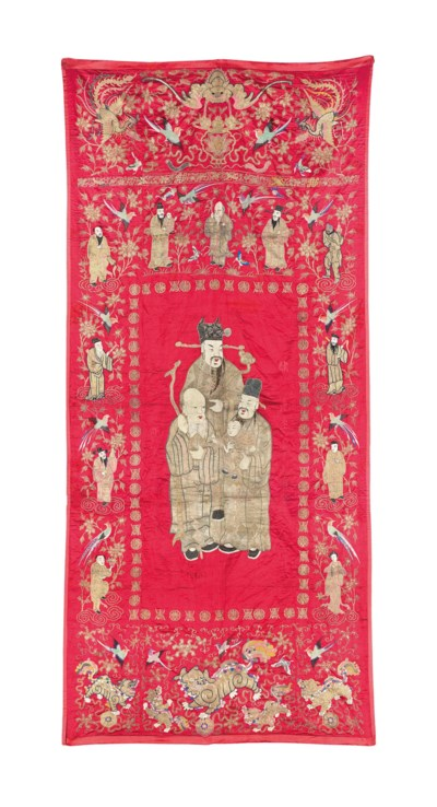 A LARGE CHINESE EMBROIDERED RE