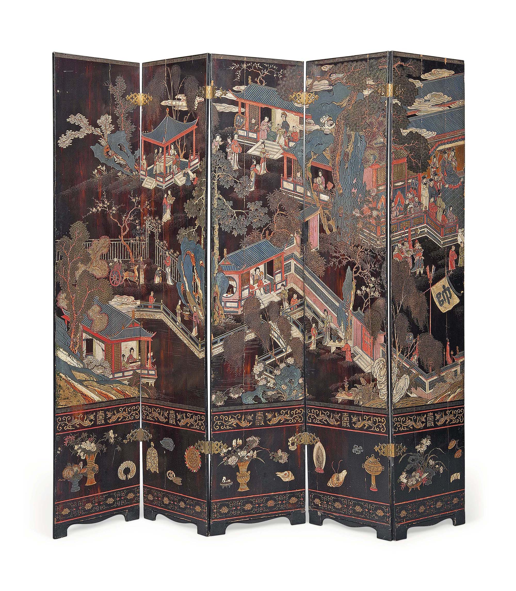 A CHINESE POLYCHROME LACQUER F
