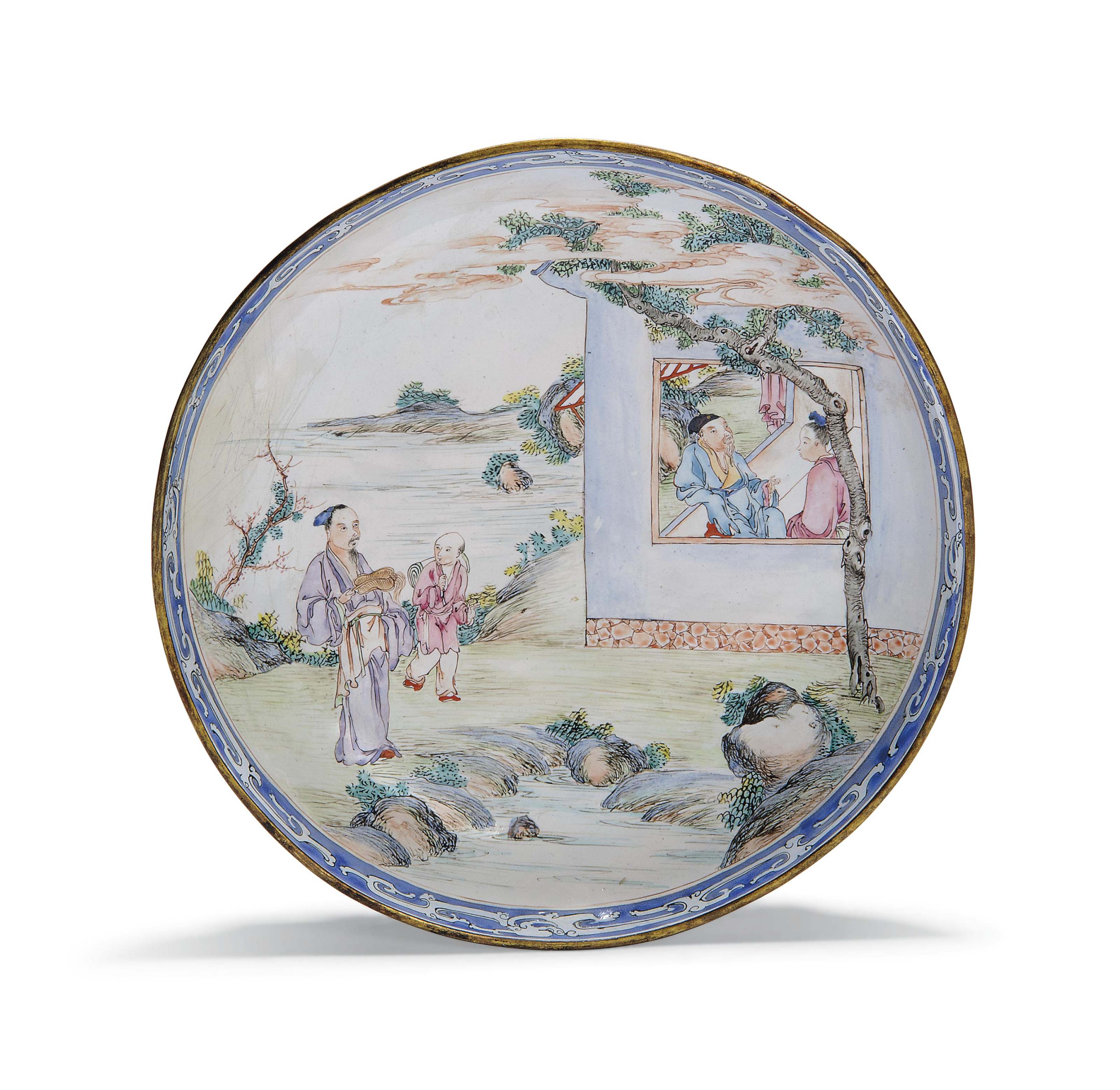 A CHINESE PAINTED ENAMEL DISH