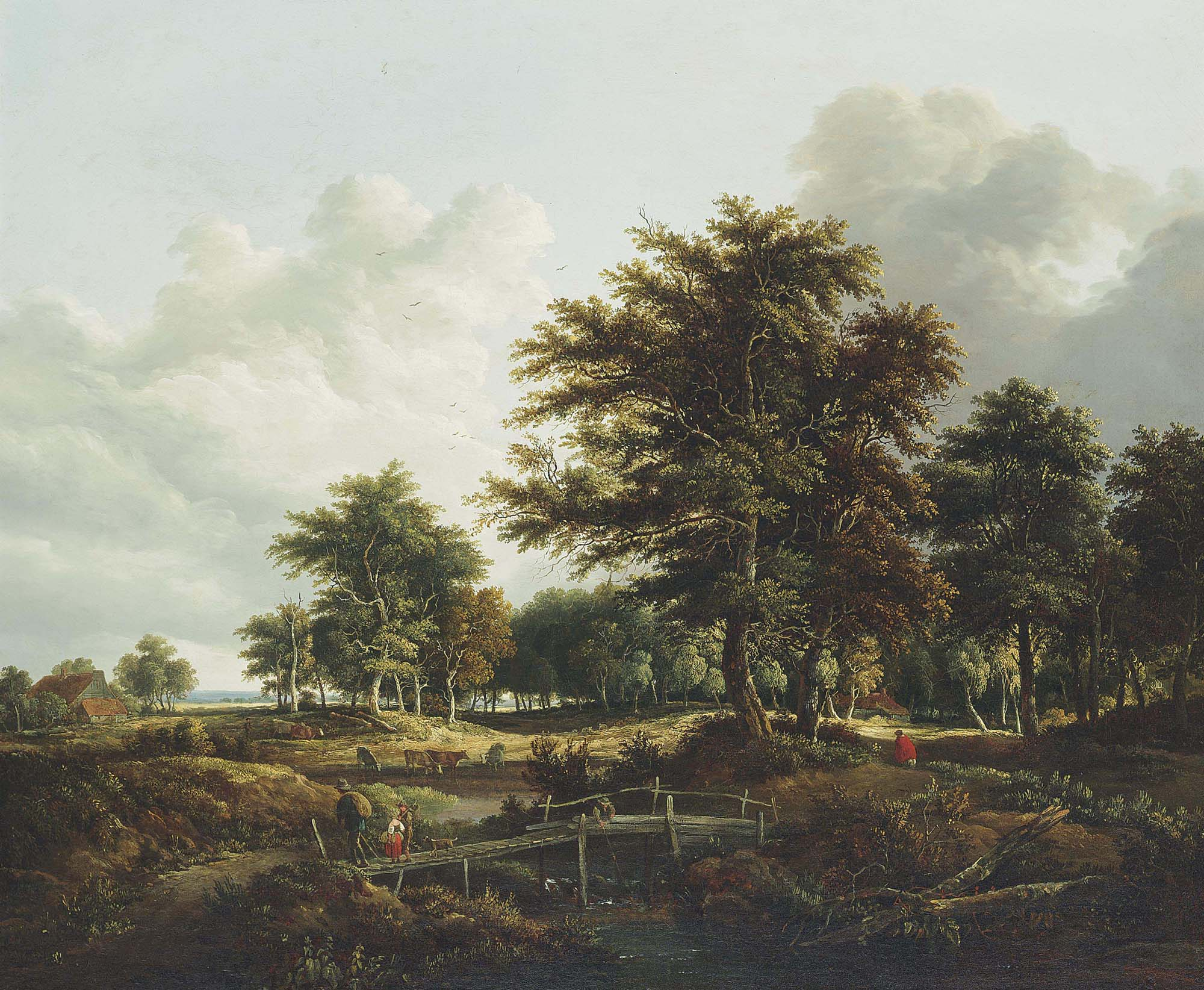 A wooded landscape with travelers on a bridge