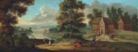 An extensive river landscape with peasants by cottages