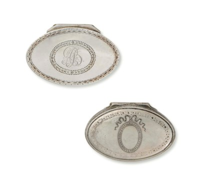 TWO GEORGE III OVAL SILVER NUT