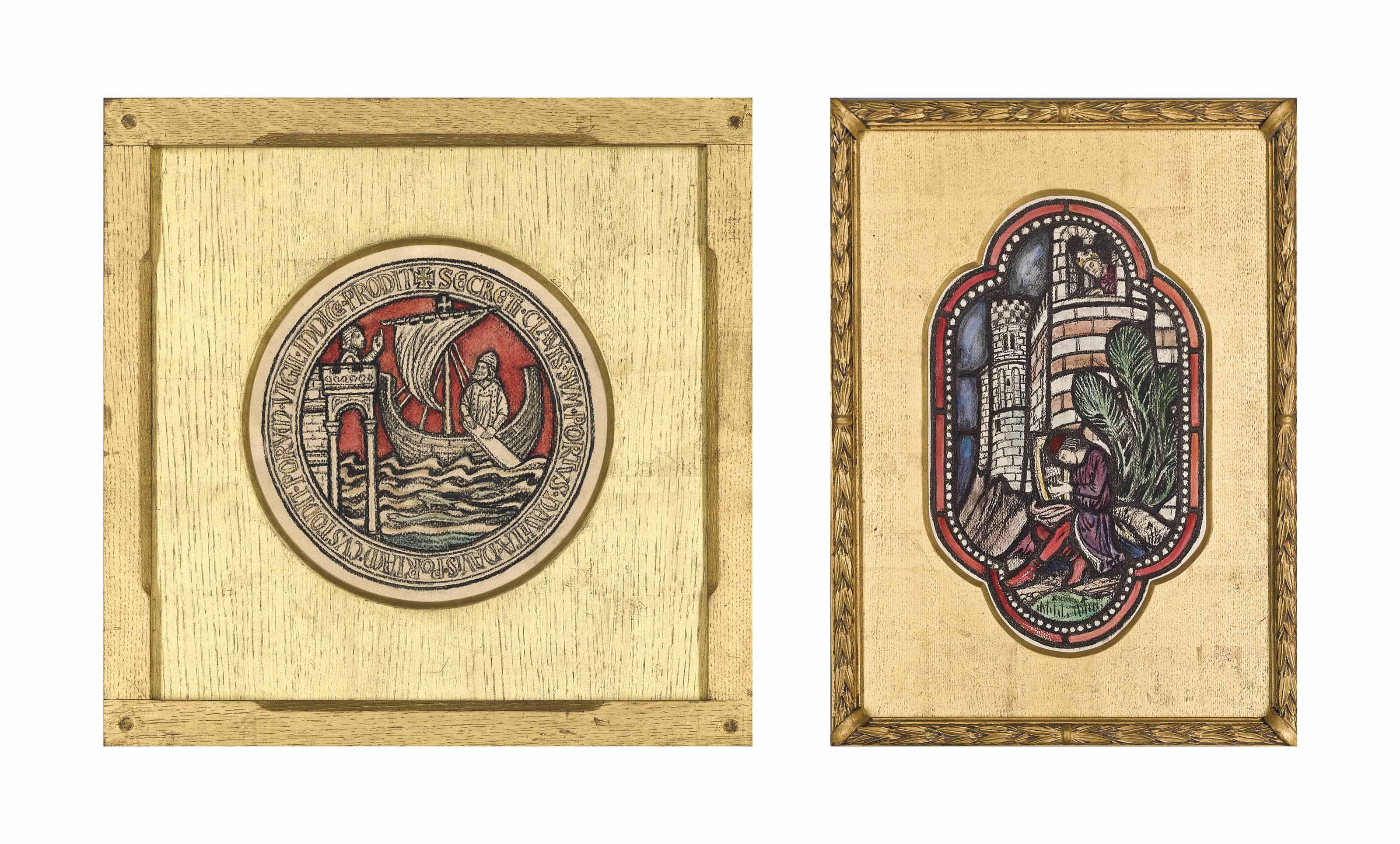 Five stained glass window designs including two for Red Lodge, Bristol (two illustrated)