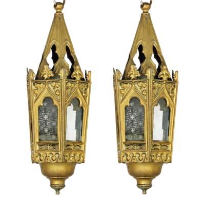 A set of four hexagonal brass