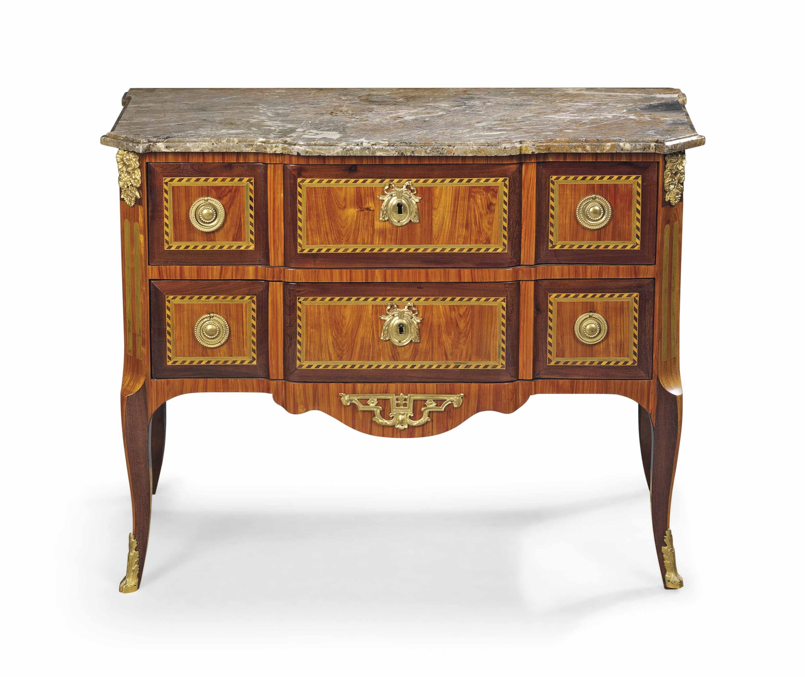 A LATE LOUIS XV ORMOLU-MOUNTED AMARANTH, TULIPWOOD AND MARQUETRY COMMODE