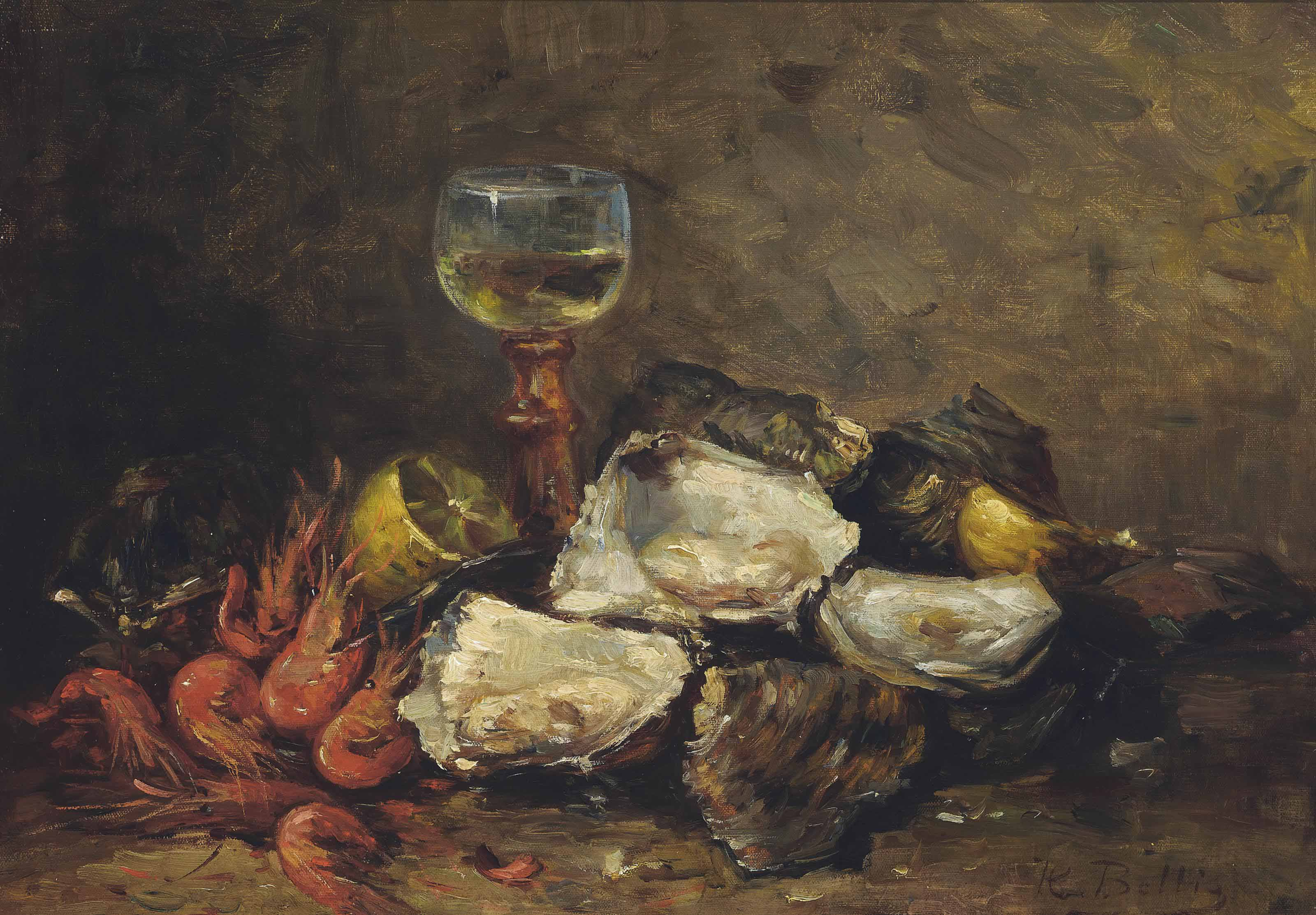 Oysters and prawns with a glass of wine