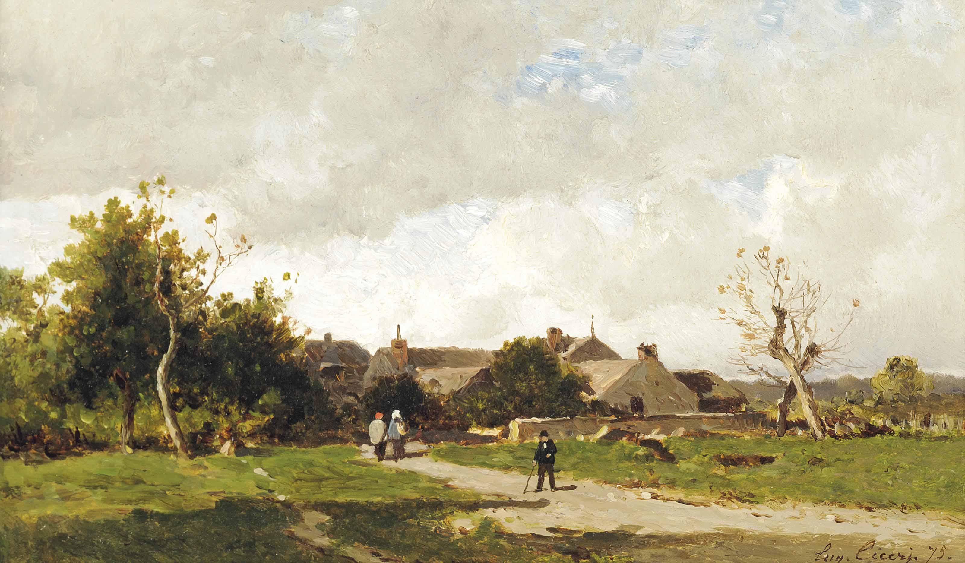 Figures on the outskirts of a village