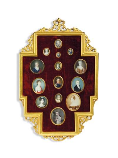 A frame containing fourteen po