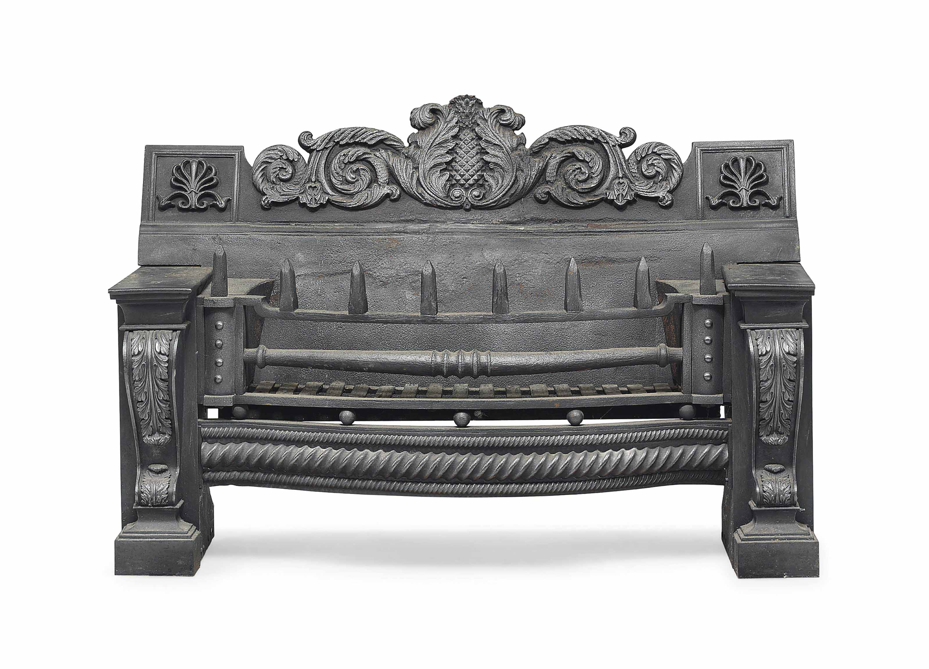 A REGENCY LARGE CAST-IRON FIREGRATE