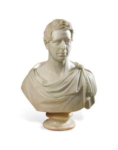 A CARVED MARBLE BUST OF JOHN C