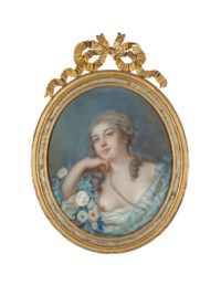 Bust length portrait of a lady in a floral corsage with pearl headdress