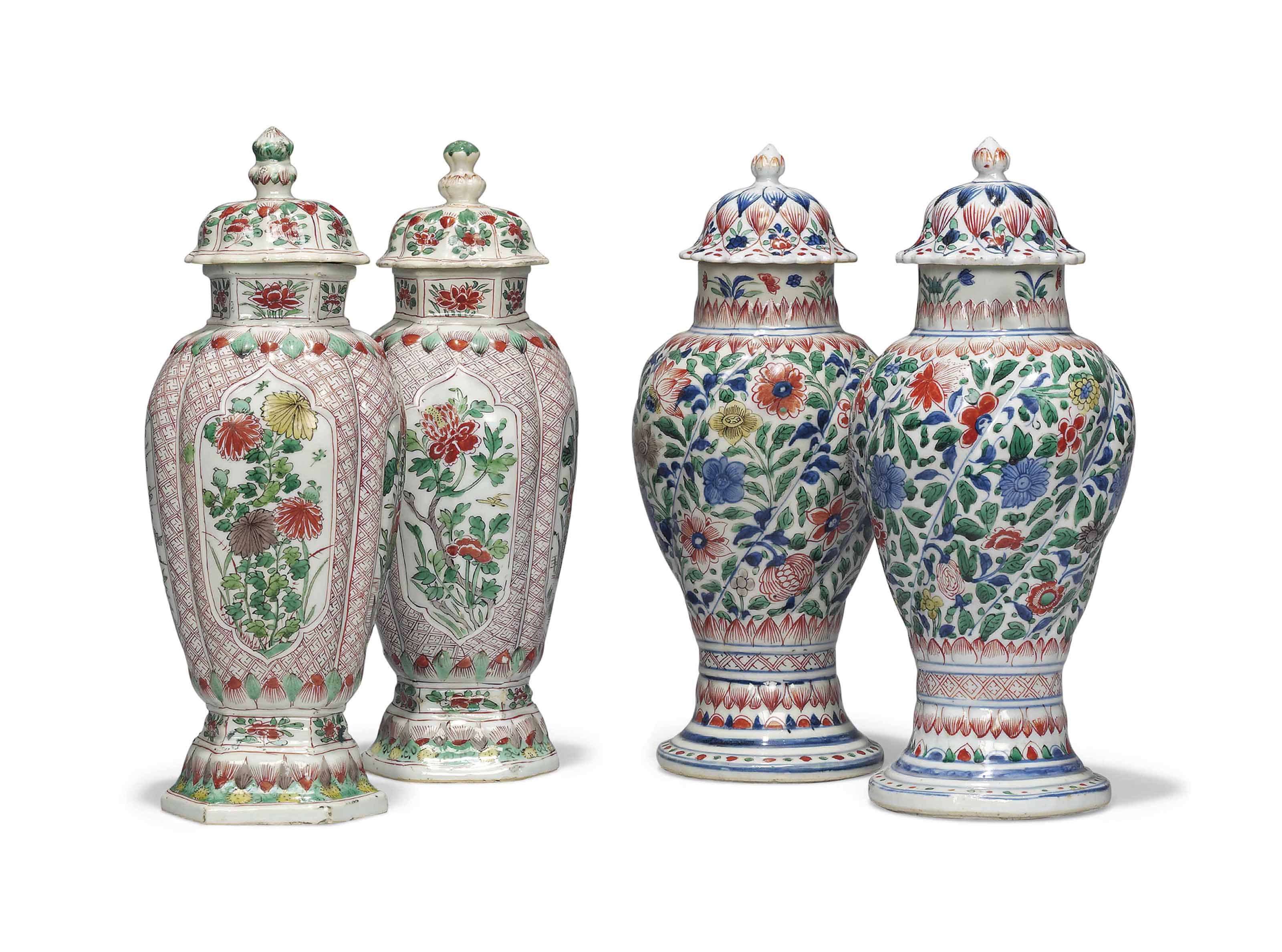 TWO PAIRS OF CHINESE FAMILLE VERTE VASES AND COVERS