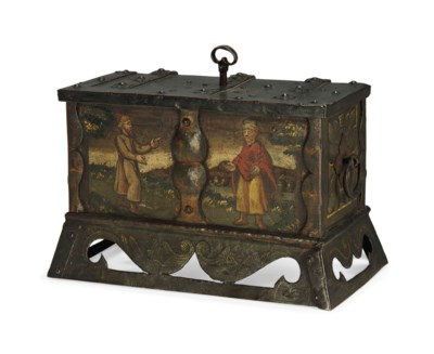 A GERMAN PAINTED IRON CASKET