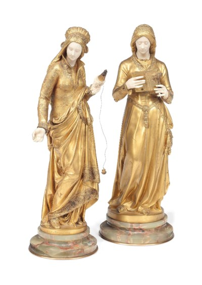 TWO FRENCH GILT-BRONZE AND IVO
