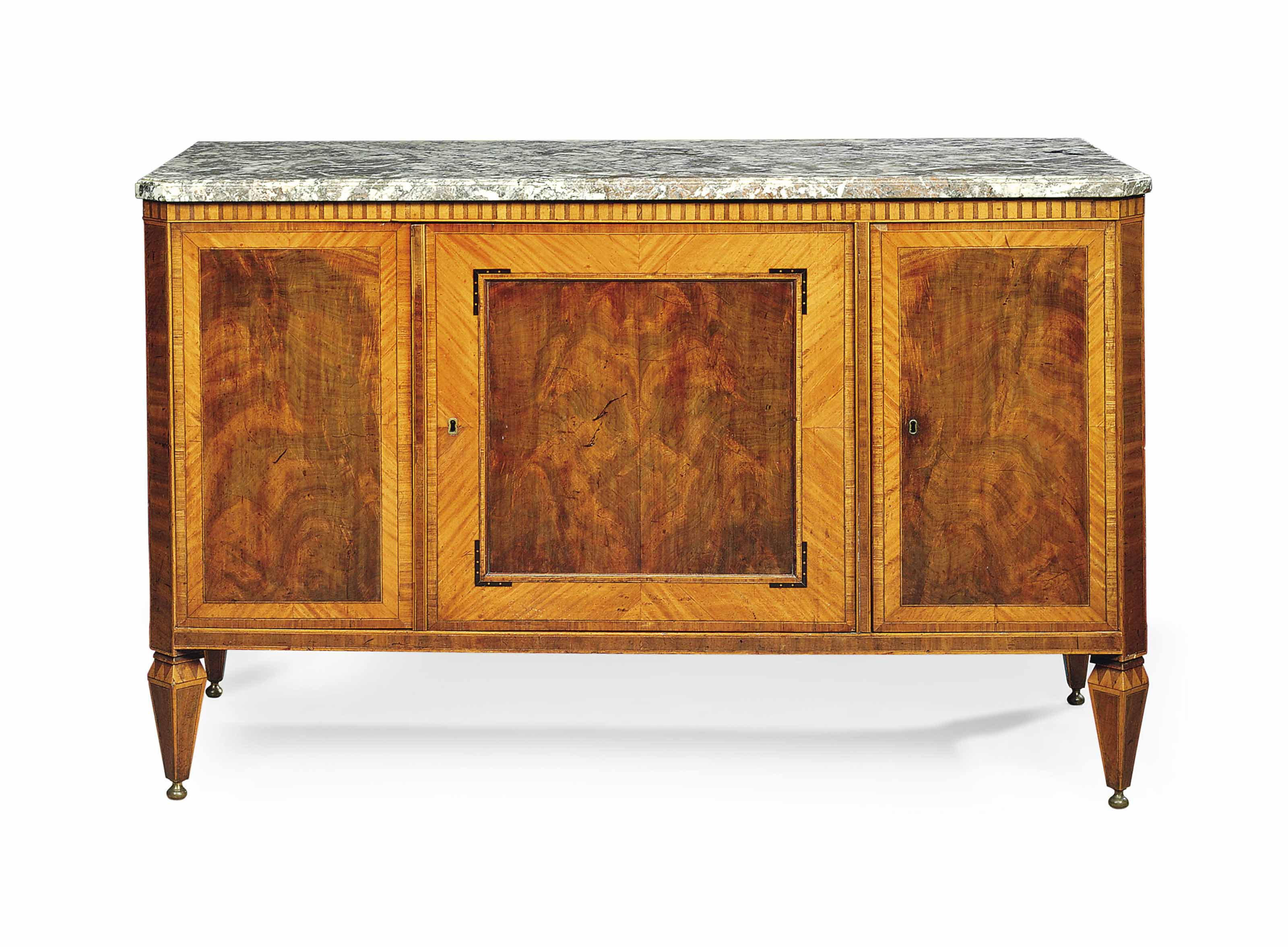 A DUTCH MAHOGANY, SATINWOOD AND KINGWOOD CROSS-BANDED SIDE CABINET