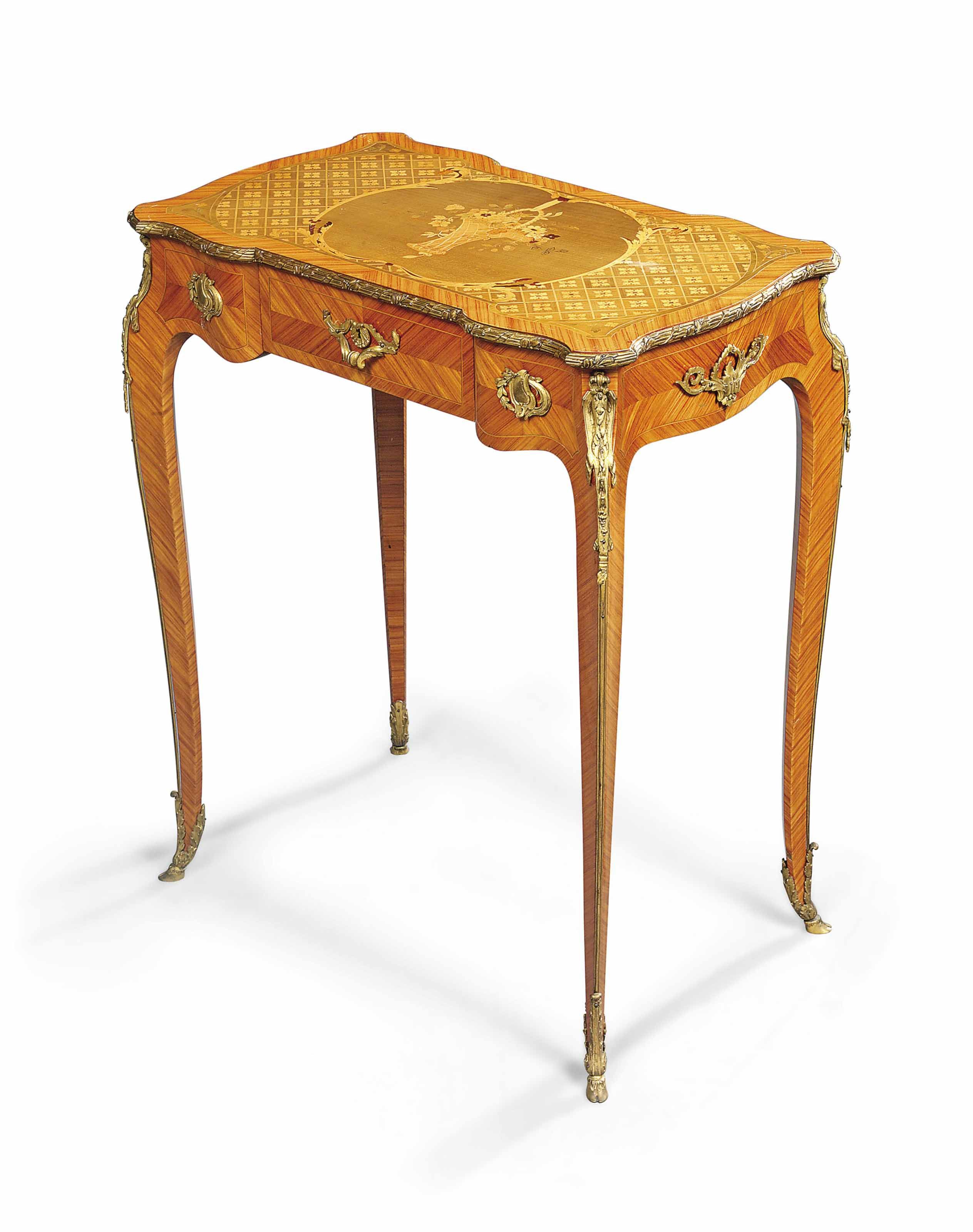 A FRENCH ORMOLU-MOUNTED TULIPWOOD AND FRUITWOOD MARQUETRY TABLE A ECRIRE