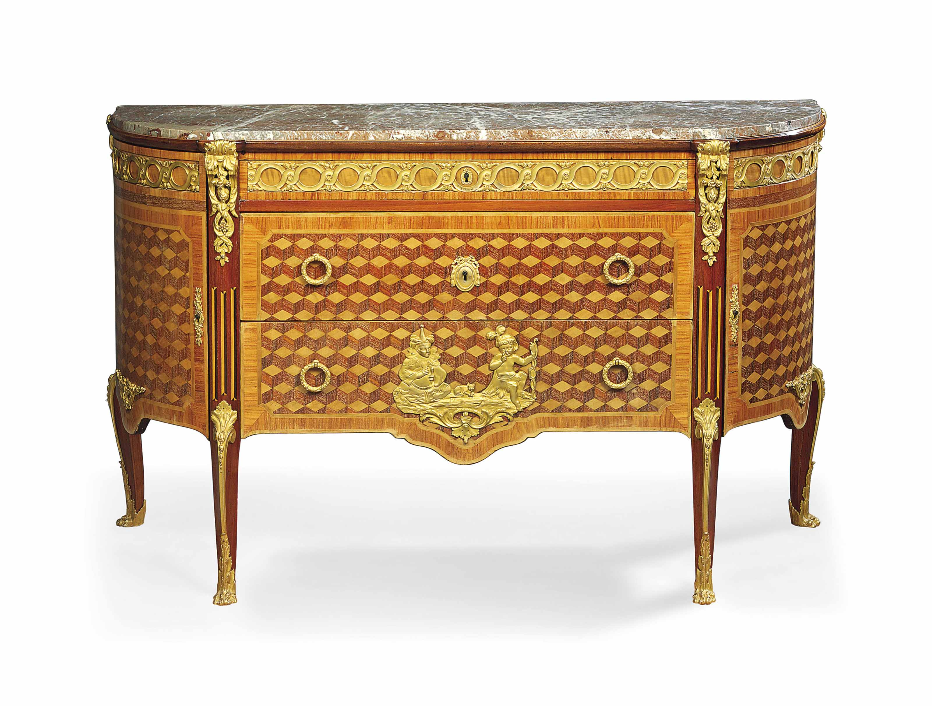 A FRENCH ORMOLU-MOUNTED AMARANTH, TULIPWOOD AND PARQUETRY COMMODE