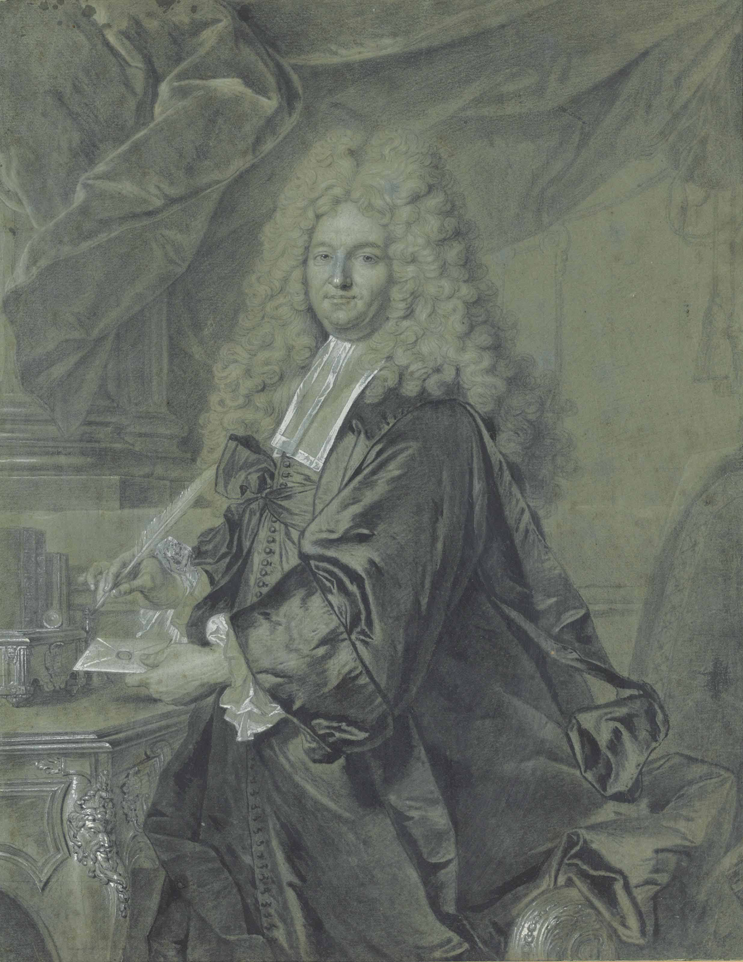 Portrait of Joseph Jean-Baptiste Fleuriau d'Armenonville (1661-1728 ), Conseiller d'Etat , three-quarter length, wearing official robes and a periwig