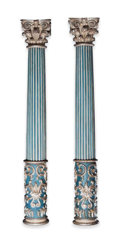 A PAIR OF ITALIAN BLUE PAINTED