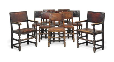 A SET OF TEN OAK AND STUDDED-L