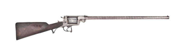 A fine .577 Beaumont-Adams patent five-shot double-action percussion revolving rifle, circa 1855. Sold for £5,625 on 15 December 2014 at Christie's in London