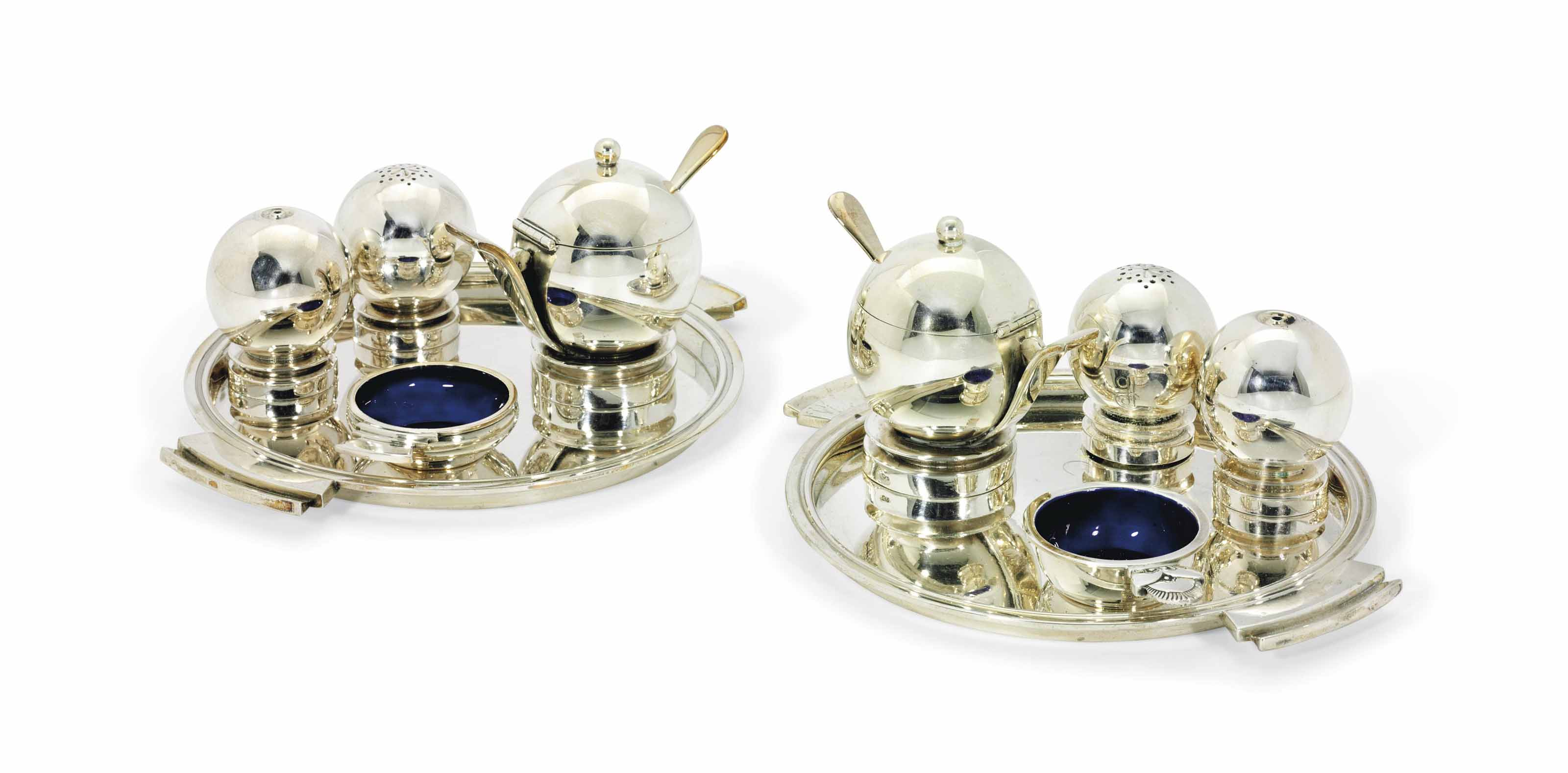 A PAIR OF DANISH CONDIMENT SETS DESIGNED BY HARALD NIELSEN