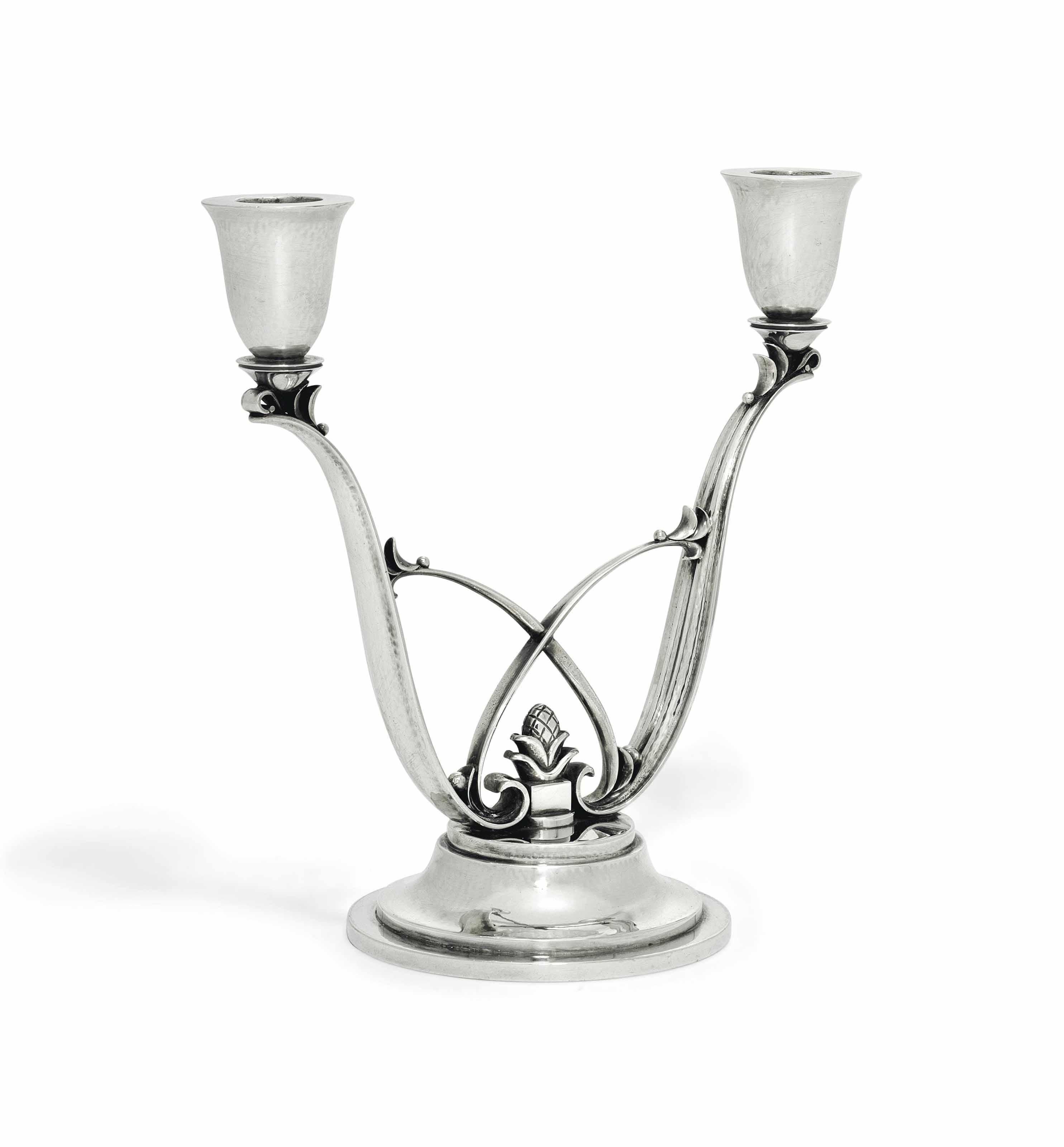 A DANISH TWO-LIGHT CANDELABRUM DESIGNED BY HARALD NIELSEN
