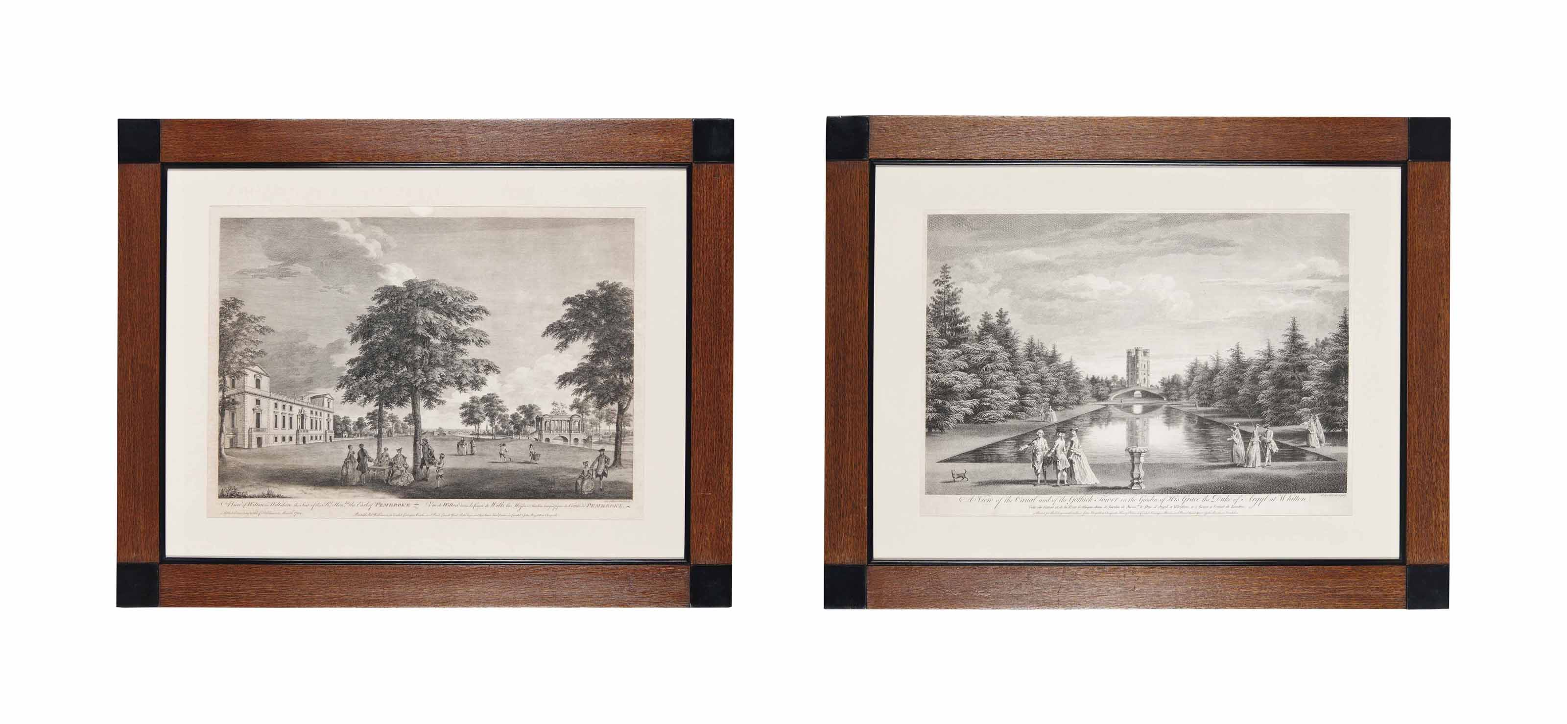 FOUR GEORGE III ENGRAVINGS OF VIEWS FROM ENGLISH COUNTRY HOUSES