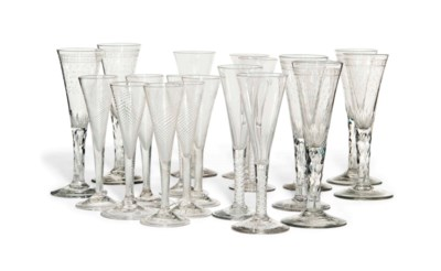 NINETEEN  VARIOUS GLASS CHAMPA