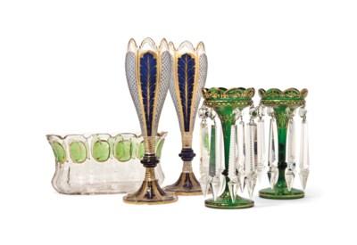 A GROUP OF BOHEMIAN CUT-GLASS