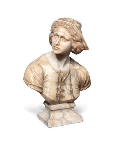 A FRENCH ALABASTER BUST OF JOA
